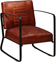 vidaXL Lounge Chair Genuine Leather Brown Armchair Seat Living Room Furniture