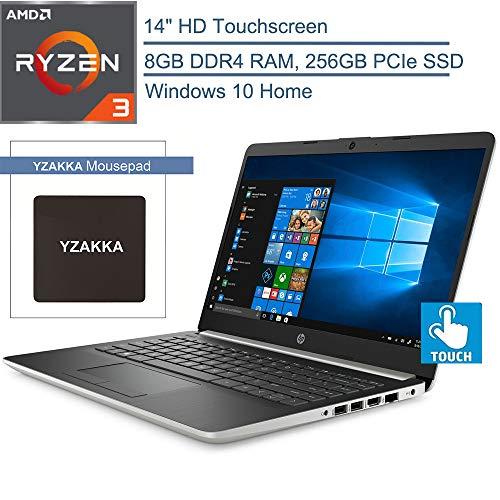 "2020 HP 14 14"" Touchscreen Laptop Computer, AMD Ryzen 3 3200U up to 3.5GHz (Beats i5-7200U), 8GB DDR4 RAM, 256GB PCIe SSD, 802.11AC WiFi, Bluetooth 4.2, HDMI, USB Type-C, Windows 10, YZAKKA Mouse Pad"