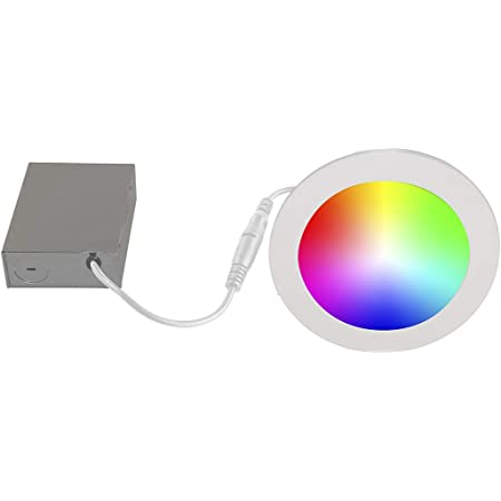 Bazz SLDSK6RGBTNWWF Slim Disk Smart Home Wi-Fi RGB LED Recessed Fixture Kit, Tunable, Dimmable, Alexa and Google Assistant Compatible, Damp Location, Energy Star, 6-in, White