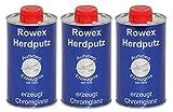 Rowex Herdputz - Spezialreiniger für Herdplatten und Gasherde - Edelstahlreiniger - Löst selbst hartnäckige Verschmutzungen, Verkrustungen und Eingebranntes - 3x 375ml