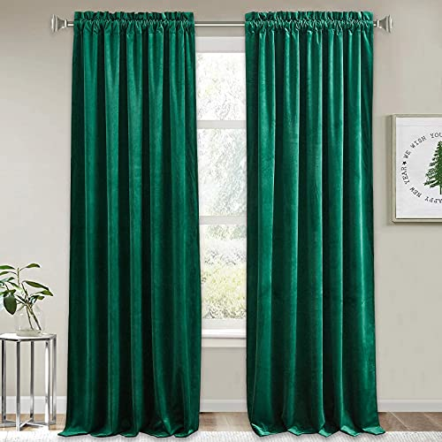 RYB HOME Green Velvet Curtains - Extra Long Curtains for Sliding Glass Door Home Decor Room Darkening Curtains for Dinning Room Home Office Photography Backdrop, Emerald Green, 52 x 108, 2 Pcs