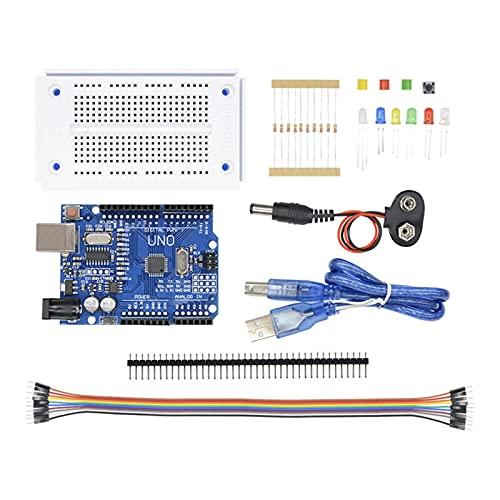 ZRYYD Un Conjunto de Accesorios completos de Accesorios para Arduino Uno R3 Breadboard, Cables de Puente, LED, Cable USB y Conector de batería de 9V