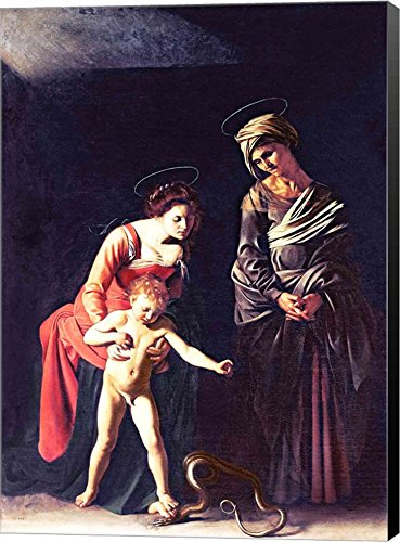 Madonna and Child with a Serpent, 1605 by Michelangelo Caravaggio Canvas Art Wall Picture, Museum Wrapped with Black Sides, 24 x 34 inches