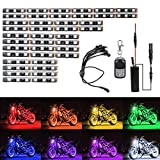 Motorcycle LED Light Kit Strips DIBMS Multi-Color Glow Neon Lights Lamp Flexible with Wireless Remote Controller for Harley Davidson Honda Kawasaki Suzuki Cruisers
