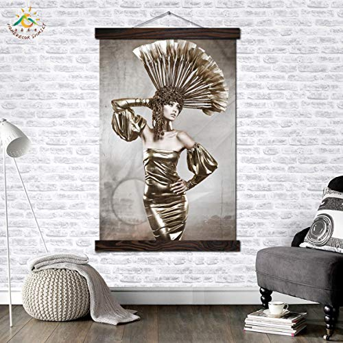 oioiu Retro Mode Frau Wandkunst Leinwand Malerei Malerei Vintage Poster und Druck Wandbild Home Schlafzimmer Korridor Wohnzimmer Dekoration Rahmenlos