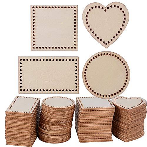 SERWOO 100pz Dischi Legno Fette Grezzo Decorazioni Abbellimenti per Artigianato Fai da Te in 4 Forme Quadrato Rotondo Cuore Rettangolare