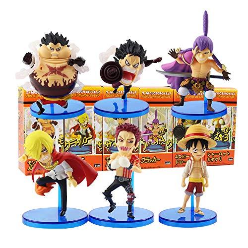 6Pcs/Lot 7-9Cm Anime One Piece, Wcf Battle of Luffy Whole Cake Island Cute Mini Sanji Bound Man PVC Action Figure Collection Toys