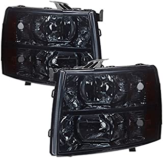 AJP Distributors For Chevy Chevrolet Silverado 1500 2500 3500 HD Headlights Lights Lamps 2007 2008 2009 2010 2011 2012 2013 2014 07 08 09 10 11 12 13 14 (Chrome Housing Smoke Lens Amber Reflector)