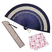大阪 長生堂 扇子 レディース 女性用 高級 ビジネス 扇子入れ ハンカチ付セット 和装小物 ボンボンヌ ネイビー
