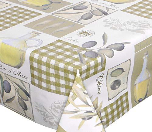 WACHSTUCH Tischdecken abwischbar Meterware, Größe wählbar, 100x140 cm, Glatt Olive