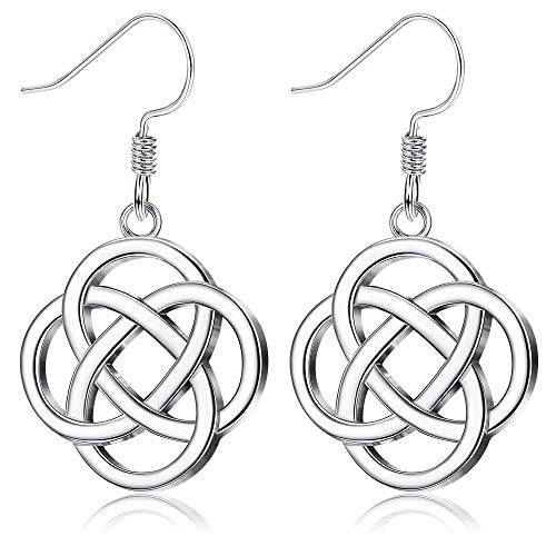 Sllaiss 925 Sterling Silver Celtic Knot Drop Earrings for Women Good Luck Irish Vintage Earrings Love Knot Round Dangle Earrings (Silver Tone)
