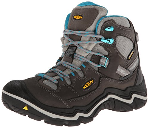 KEEN Women's Durand Mid Waterproof Hiking Boot, Raven/Mineral Blue, 5 M US
