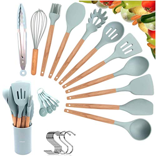 Kitchen Utensil Set, Cooking Utensils Set, Silicone Kitchen Tools, Wooden Spatula Set Non-stick Cookware Turner Tongs Spatula Spoon Kitchen Gadgets with Holder, BPA FREE (Mint Blue)