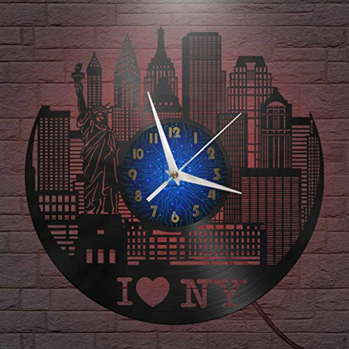 I Love New York Elements - Reloj de pared con disco de vinilo de 12 pulgadas, reloj de pared de vinilo para cocina, hogar, sala de estar, dormitorio, escuela (B), con LED Jazz Lover Gift Reloj de pare