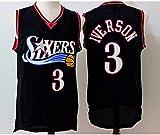 Oxyco Hombres Jersey Camiseta # 3 Allen Iverson Philadelphia 76ers Mitchell y Ness Men's Athletics Retro Camiseta de Baloncesto (Negro, L(50))