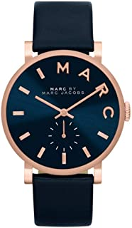 Marc by Marc Jacobs Baker For Women Navy Blue Dial Leather Band Watch - MBM1329