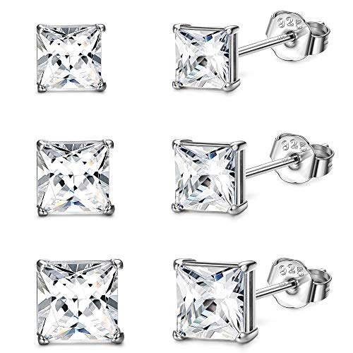 Sllaiss 3 Pairs Square 925 Sterling Silver Stud Earrings Set White Gold Plated Cubic Zirconia Earrings Small Stud Earrings for Women 3mm 4mm 6mm