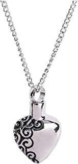 Heart Shaped Cinerary Casket Pendant Necklace Sculpture Heart Shaped Stainless Steel Cremation Urn Pendant
