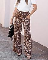 The Drop Pantalon pour Femme, à Enfiler, Taille Haute, Jambe Évasée, Imprimé Léopard, par @sivanayla, Taille S
