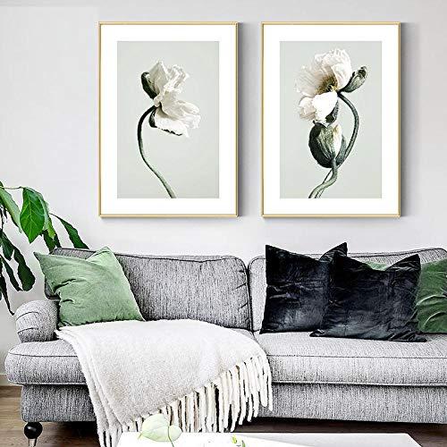Cuadro de la lona de la planta verde de la pintura de la flor del cartel del arte de la impresión escandinavo de la pared para la decoración de la sala de estar 20x30cm x2