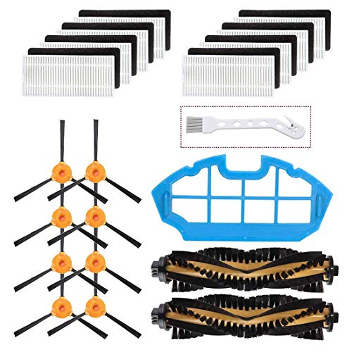Mochenli Replacement Parts Accessories for DEEBOT N79 N79s DN622 500 N79w N79se Yeedi K600 K700 Robotic Vacuum Cleaner,8 Side Brushes,8 Filters,2 Main Brushes, 1 Primary Filter Replacment Parts Kit