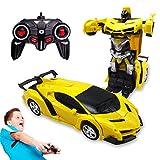 Pup Go Coche Teledirigido, 2 in 1, Transformable en Transformers,Robot RC Car, 2.4GHz Coche Radiocontrol with LED, Batería Recargable, Transforming Toys Juguetes Regalo para niños de 3 4 5 6 7 años