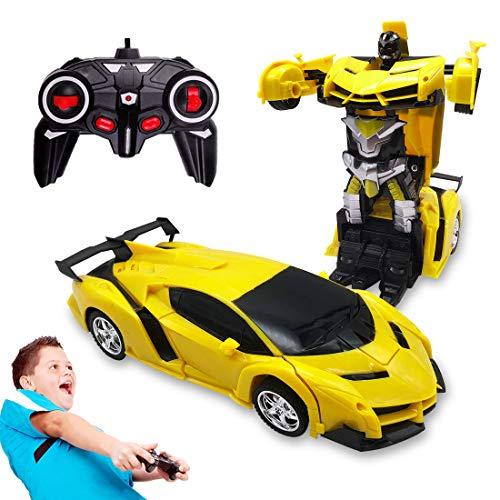 Pup Go Telecomando Auto Giocattolo per Bambini da 3 Anni, Facile da Usare, Trasformabile in Transformers, con Effetti Sonori Realistici e Luci LED, Regalo di Compleanno per Ragazzi e Ragazze (Giallo)