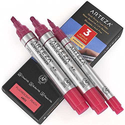 Arteza Markery do farb akrylowych, 3 sztuki, A802 fluorescencyjne brzoskwinie, 1 cienkie i 2 grube (dłuto + końcówka punktowa) akrylowe farby na zewnątrz, do metalu, płótna, kamieni, powierzchni ceramicznych, szkła, drewna i tkaniny