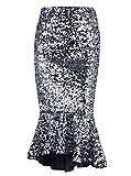 VIJIV Womens Sequin Mermaid Skirt Plus Size High Waist Glitter Long Bridesmaid Party Fishtail Pencil Skirt Midi for Wedding Silver X-Large (16-18)