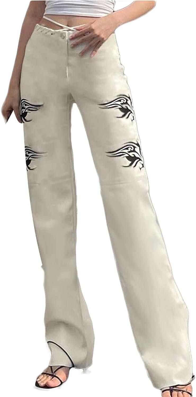 WNGECAT Women Wide Leg High Waist Trousers Fashion Printing Pattern Pants Streetwear