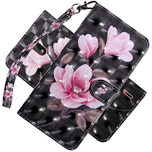 COTDINFOR Nokia 2.2 Hülle 3D-Effekt Painted cool Schutzhülle Flip Bookcase Handy Tasche Schale mit Magnet Standfunktion Etui für Nokia 2.2(2019) Pink Flower Black BX.