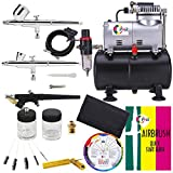 OPHIR 110V Pro Airbrush Kit Air Brush Compressor with Tank 0.2mm 0.3mm 0.8mm Airbrushes & Cleaning Kit for Model Hobby Painting Body Tattoo Airbrush Set,Color Wheel Gift