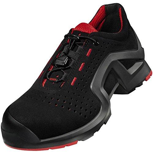Uvex Uvex Unisex-Erwachsene Scarpa Bassa 1 x-Tended Support S1 SRC W11 niedriger Schuh, Nero, Rosso, 44 EU