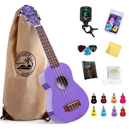 Soprano Ukulele Purple 21 inch High Gloss Basswood Mini Kids Guitar Hawaiian Ukeleles Instrument Kit with Ukalalee Bag Tuner Pack Book for Beginner Toddler Starter Adults