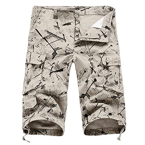 Winging Pantalones Cortos de Monos de Color Sólido Pantalones de Ocio Con Múltiples Bolsillos Casuales Shorts Con Estampado Multicolor de Moda de Verano Para Hombres de Talla Grande