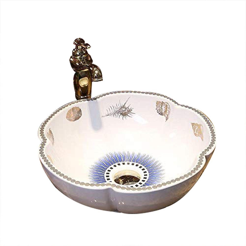 Mediterranean European Vintage Style Oval Ceramic Bathroom Sink Hand Wash Flower Shape 4