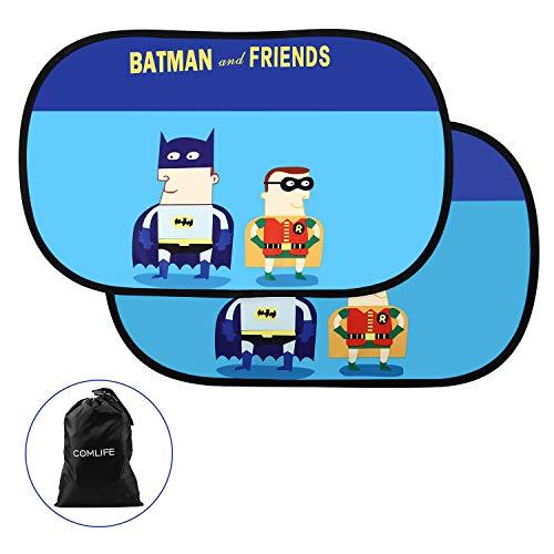 COMLIFE Parasol de Coche para Ventanas Laterales Traseras -Static Cling Sombrilla Plegable de Dibujos Animados Protector para Bebés - Batman