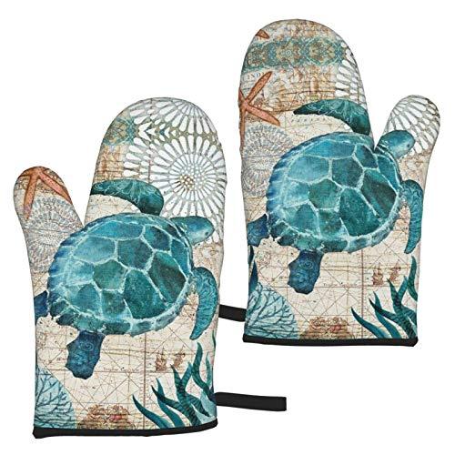 WZM Guantes de horno de tortuga marina, 1 par de forro de algodón acolchado, impermeables, resistentes al calor, para cocinar, barbacoa, hornear, asar