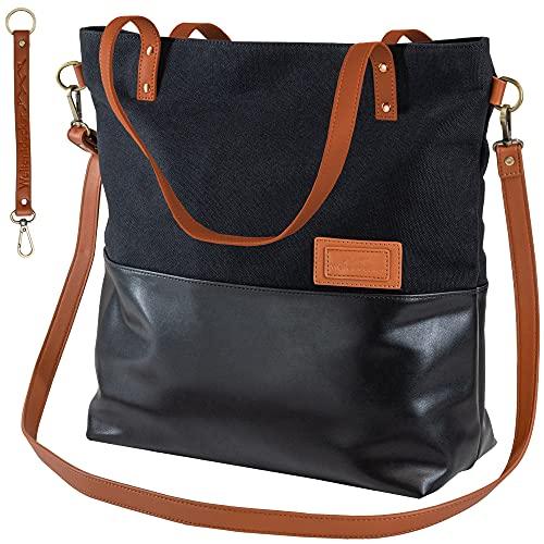 Damen Umhängetasche Groß Shopper Schwarz Canvas Leder Handtasche Schultertasche Mädchen Tote Bag Crossbody Bag Beuteltasche Arbeitstasche Uni Freizeit Reisen