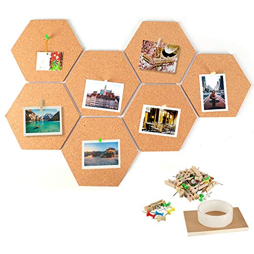 IZSUZEE Cork Notice Board 20x17.5 cm Set of 7, Self Adhesive DIY Pin Boards for Office Home Kitchen Kids Bedroom Walls Decor, Vision Mood Board Tiles with 10 Clips 30 Nails 1 Tape 1 A6 Memo Notepad
