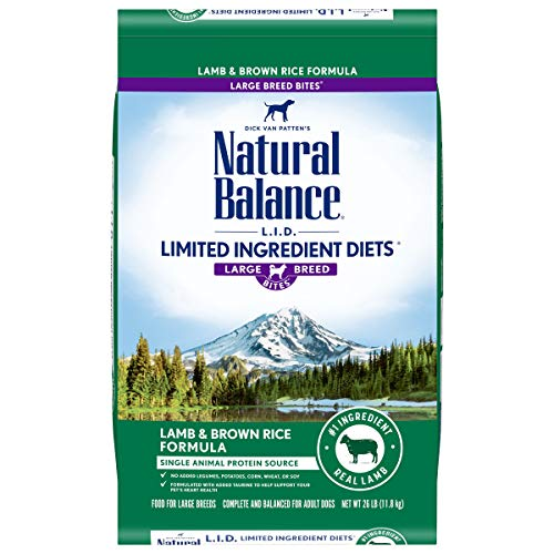 Natural Balance L.I.D. Limited Ingredient Diets Large Breed Bites Dry Dog Food, Lamb & Brown Rice Formula, 26 Pounds