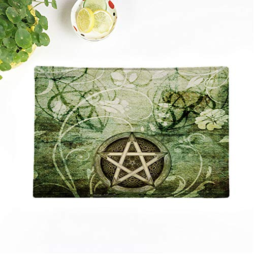 Topyee Set of 4 Placemats Wiccan Wicca Rustica Woodland Pagan Witch Handfasting Wedding Celtic 18x12.5 Inch Parties Decor Non-Slip Washable Place Mats for Kitchen Dinner Table Mats