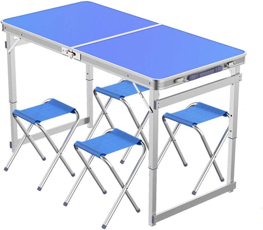 Mesa plegable portátil al aire libre Maleta con mesa de 1,2 metros Conjunto de mesa y sillas plegables para exteriores Mesa portátil Mesa de comedor liviana HomeHeavy Mesas de campo de picnic