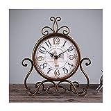 YYF Vintage American Garden Living Room Clock - Creative Iron Table Clock Desktop Silent Clock - 6 inches (Size : D)