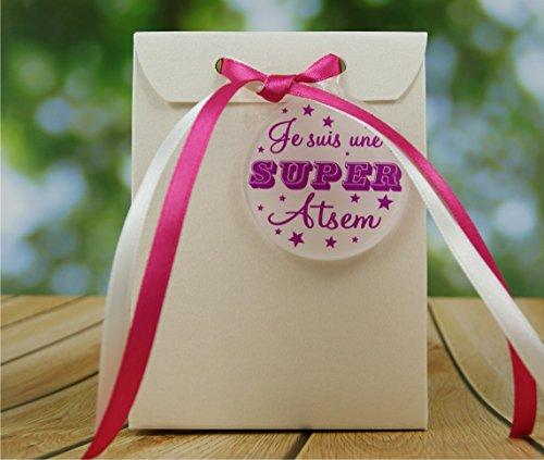 Boite de Chocolat garnie Je suis une Super ATSEM - Idée de Cadeau Original Fin d'Année Scolaire noël remerciement. L'école est finie ! Vive les Vacances ! BtEcF