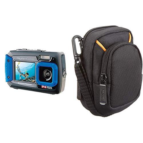 EasyPix W1400 Cámara Digital Activa 3m a Prueba de Agua, 14 Mpx CMOS, LCD de 2.7%22, Azul-Negro + AmazonBasics Funda para cámaras compactas (tamaño Mediano)