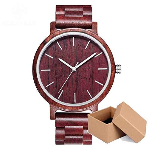 Leichte Handarbeit Holz Armbanduhr MäNnliche Uhr Sport Mode Roten Bambus Herren Holz Uhren Quarz Drop Man Clock B90G-Red-Box