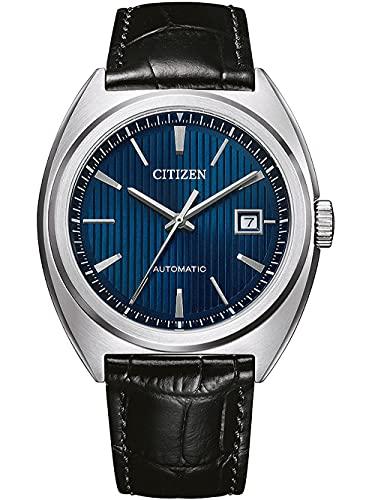 CITIZEN Herren Analog Automatik Uhr mit Leder Armband NJ0100-46L