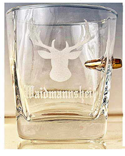 Jäger Geschenk-Trink Glas mit Geschoß cal.308 und Gravur -Waidmannsheil-