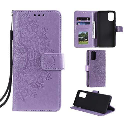 CoverKingz Handyhülle für Xiaomi Mi 10 Lite - Handytasche mit Kartenfach Mi 10 Lite Cover - Handy Hülle klappbar Motiv Mandala Lila